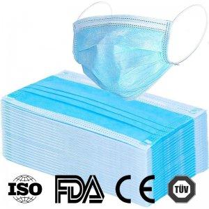 Atemschutz Hygienemasken medizinisch, Box mit 50 Stück, hellblau